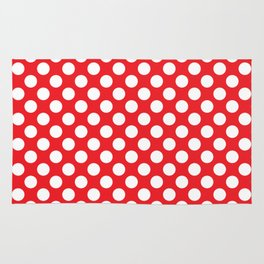 White Polka Dots with Red Background Rug