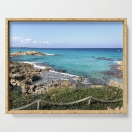 Vibrant Blue Waters of Formentera, Spain Serving Tray