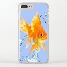 DECORATIVE  GOLDFISH SPLASHING  WATER ART Clear iPhone Case