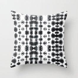 Shibori Ikat Habotoi BW Throw Pillow
