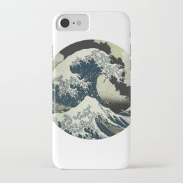 Great Wave Off Kanagawa Mt Fuji Eruption-Dark Blue iPhone Case