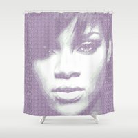rihanna Shower Curtains featuring Rihanna - Engraving by veronica ∨∧