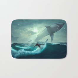Surfing with sharks Bath Mat