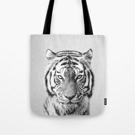 Tiger - Black & White Tote Bag