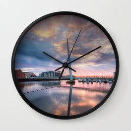 Swansea marina and Millennium bridge Wall Clock