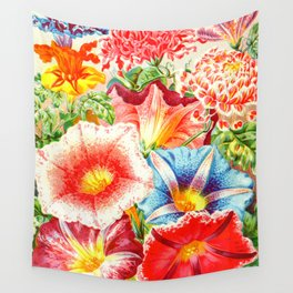 Colorful Japanese Morning Glory Flowers Wall Tapestry