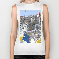 new orleans Biker Tanks featuring New Orleans by Mondrian Maps