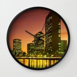 Lake Merritt and Downtown Oakland in Golden Sunset Wall Clock