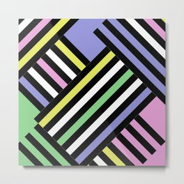 Criss Cross - Pop Art Style Geometric Criss Crossed Lines Metal Print