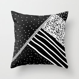 Geometrical black white watercolor polka dots stripes Throw Pillow