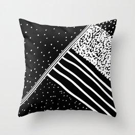 Geometrical black white watercolor polka dots stripes Throw Pillow