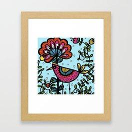 Weird and wonderful (Bird) - fun, bright flower and bird artwork Framed Art Print