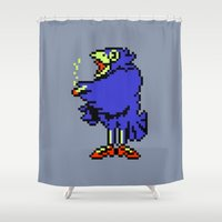earthbound Shower Curtains featuring Crow - Mother / Earthbound Zero by Studio Momo╰༼ ಠ益ಠ ༽
