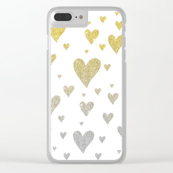 Glitter Hearts Clear iPhone Case