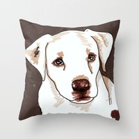 golden retriever Throw Pillows featuring Golden retriever by Pendientera
