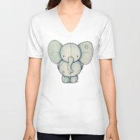 elephant V-neck T-shirts featuring Cute Elephant by Mike Koubou