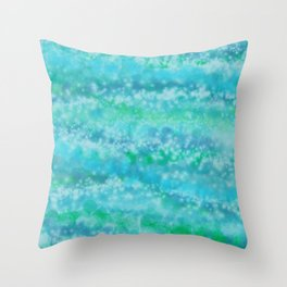 Abstract Blue Green Waves Throw Pillow