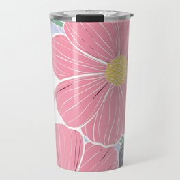 Vintage Pink Flowers Travel Mug