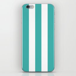Verdigris blue - solid color - white vertical lines pattern iPhone Skin