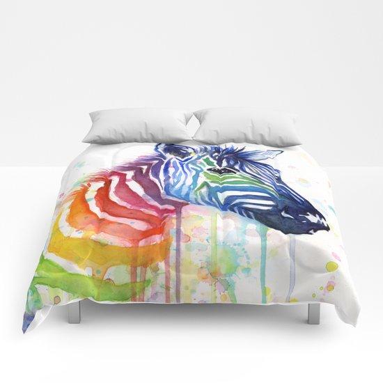 Zebra Rainbow Watercolor Whimsical Animal Comforters