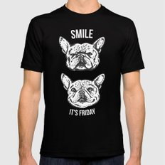 Smile It's Friday Frenchie MEDIUM Black Mens Fitted Tee
