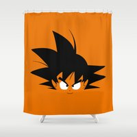 dragonball Shower Curtains featuring Minimalist Hero #2 GOKU by WILDSTYLZ