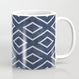 Stitch Diamond Tribal Print in Indigo Coffee Mug