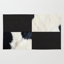 Cow Print & Leather Collage Rug