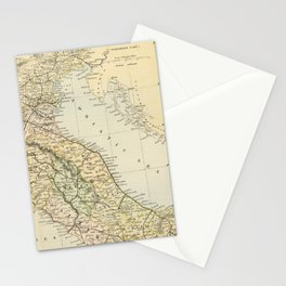 Retro & Vintage Map of Northern Italy Stationery Cards