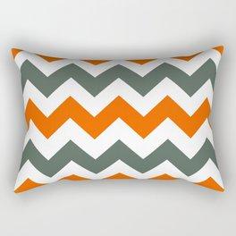 Chevron Pattern In Russet Orange Grey and White Rectangular Pillow