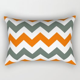 Chevron Pattern In Russet Orange Grey and White Rectangular Pillow