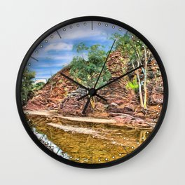 Rocks at Brachina Gorge, Flinders Ranges, Sth Australia Wall Clock