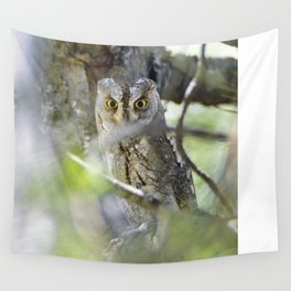 Small scops owl. Misteries of the forest Wall Tapestry