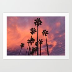 Palm Trees and Sunset  Art Print