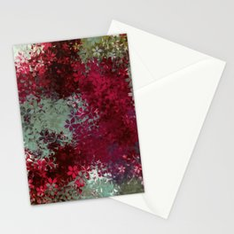red blue and green flowers abstract background Stationery Cards