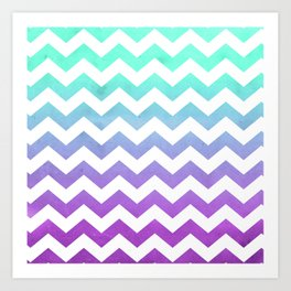 Purple Mint Aqua Ombre Chevron Pattern Art Print