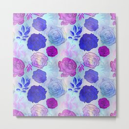 Beautiful Pink and Blue Floral Pattern Metal Print