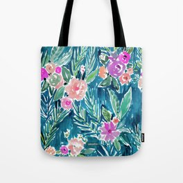 NAVY PARADISE FLORAL Tropical Hibiscus Palm Pattern Tote Bag