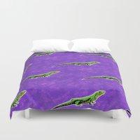 lizard Duvet Covers featuring Lizard by Skekfaer