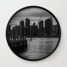 New York City Skyline and Pier in Black & White Wall Clock
