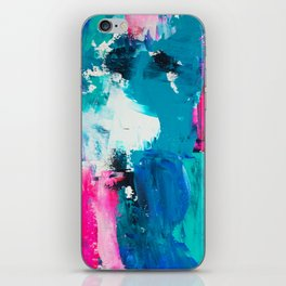 Look on the bright side | neon pink blue brushstrokes abstract acrylic painting iPhone Skin