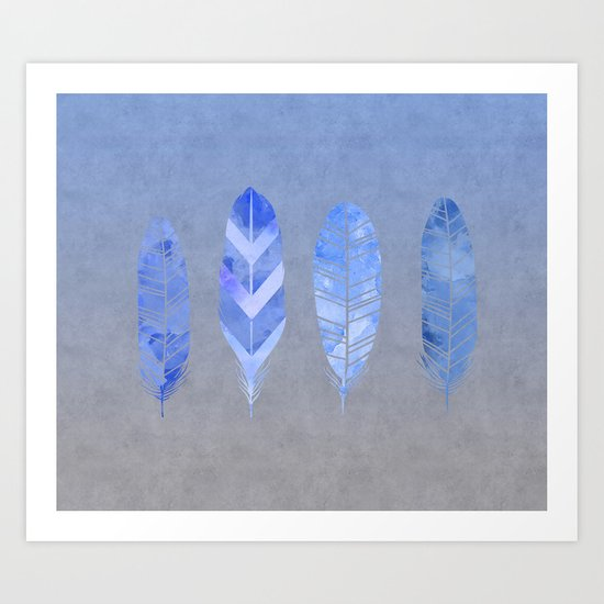 Blue Feather watercolor art Art Print