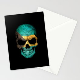 Dark Skull with Flag of Bahamas Stationery Cards