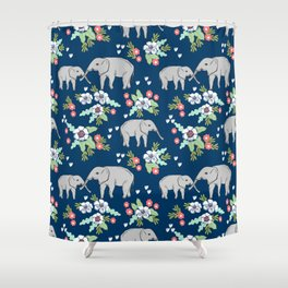 Elephants pattern navy blue with florals cute nursery baby animals lucky gifts Shower Curtain