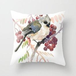 Cute Little Bird and Berries, Tufted Titmouse Throw Pillow