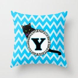 Letter Y Cat Monogram Throw Pillow