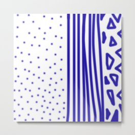 Ethnic dots blue on white Metal Print