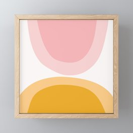 Abstract Shapes 43 in Mustard Yellow and Pale Pink (Rainbow Abstraction) Framed Mini Art Print
