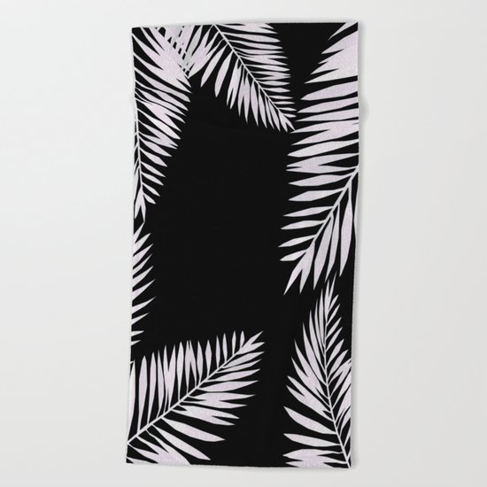 Watercolor tropical palm leaves black Beach Towel