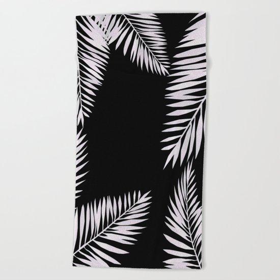 Watercolor tropical palm leaves black Beach Towel
